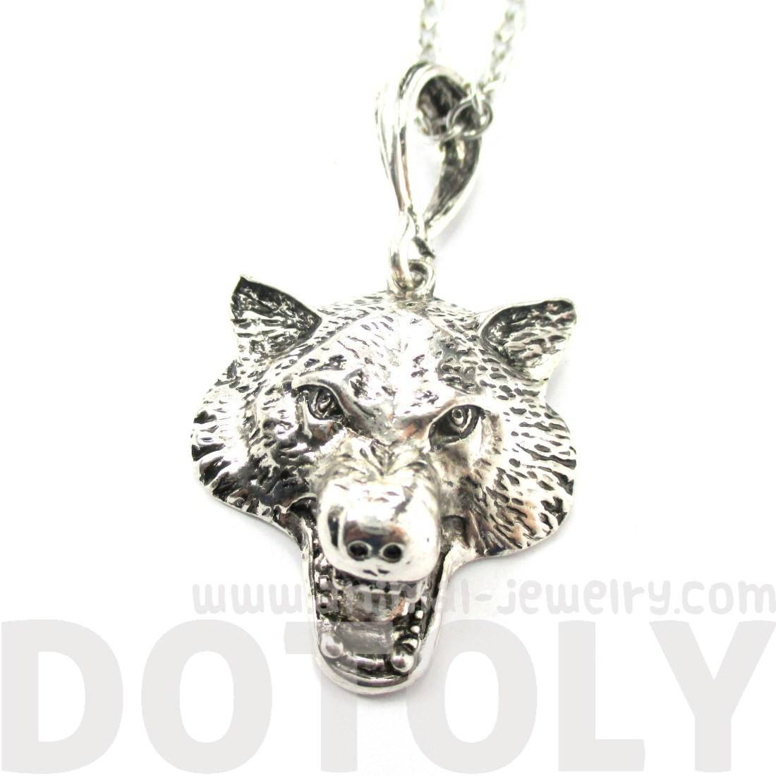 Realistic Wolf Face Shaped Animal Pendant Necklace in Silver | DOTOLY