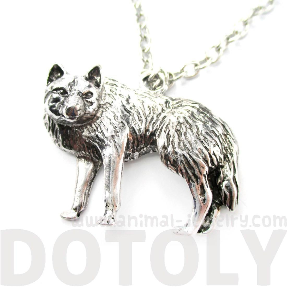 Realistic Wolf Fox Shaped Animal Pendant Necklace in Silver | DOTOLY