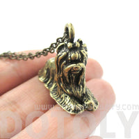 Realistic Yorkshire Terrier Puppy Dog Shaped Pendant Necklace in Brass