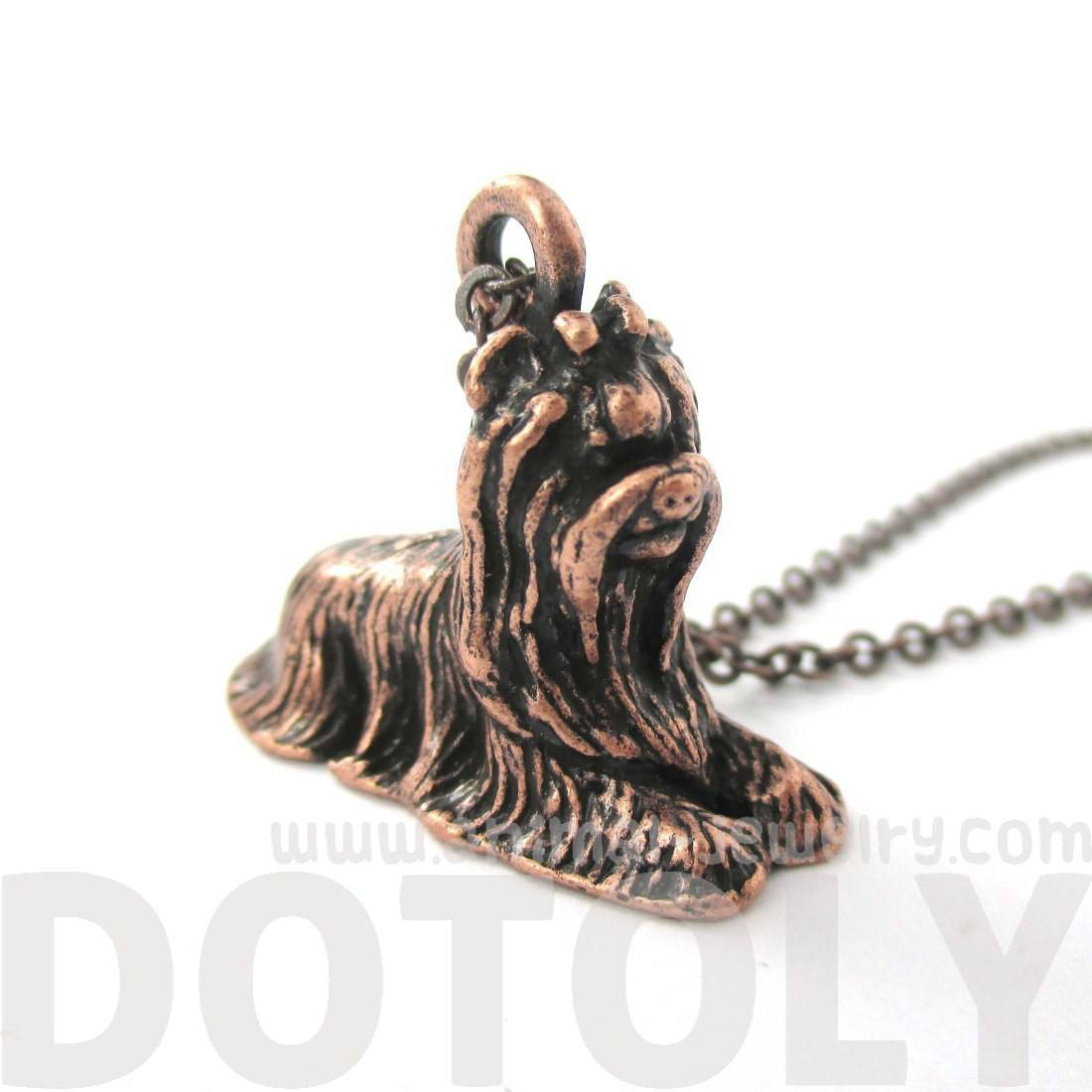 Realistic Yorkshire Terrier Puppy Dog Shape Pendant Necklace in Copper