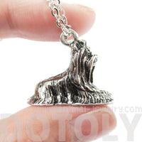 Yorkshire Terrier Puppy Dog Shaped Pendant Necklace in Shiny Silver