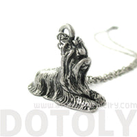 Yorkshire Terrier Puppy Dog Shaped Animal Pendant Necklace in Silver