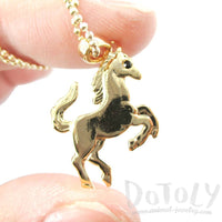 Horse Rearing on Hind Legs Pendant Necklace in Gold