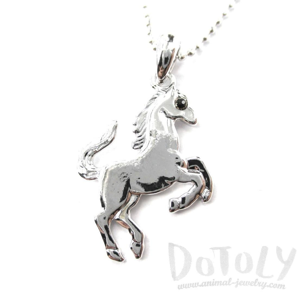 Rearing Horse on Hind Legs Pendant Necklace in Silver