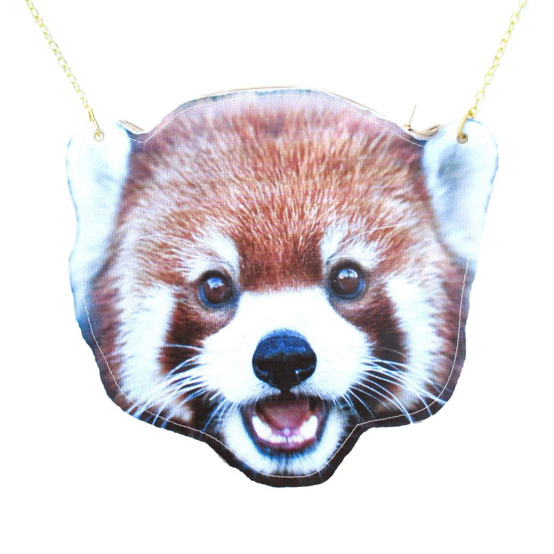Red Panda Cat-Bear Shaped Vinyl Animal Themed Cross Body Shoulder Bag