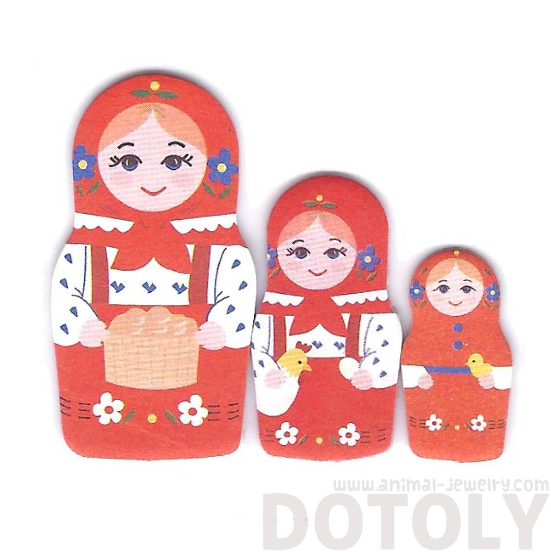 Red Russian Nesting Dolls Matryoshka Shaped Sticky Post it Marker Tabs