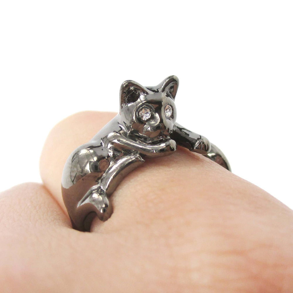 Relaxing Kitty Cat Animal Wrap Around Ring in Gunmetal Silver | US Sizes 4 to 9 Available | DOTOLY