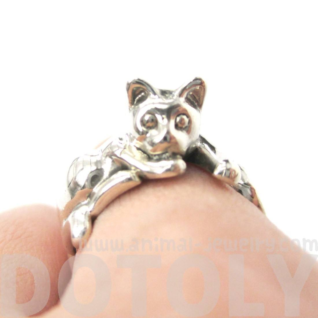 Kitty Cat Shaped Animal Wrap Ring in 925 Sterling Silver