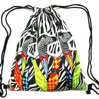 Retro Zebras in Neon Suits Animal Print Drawstring Cinch Backpack Bag
