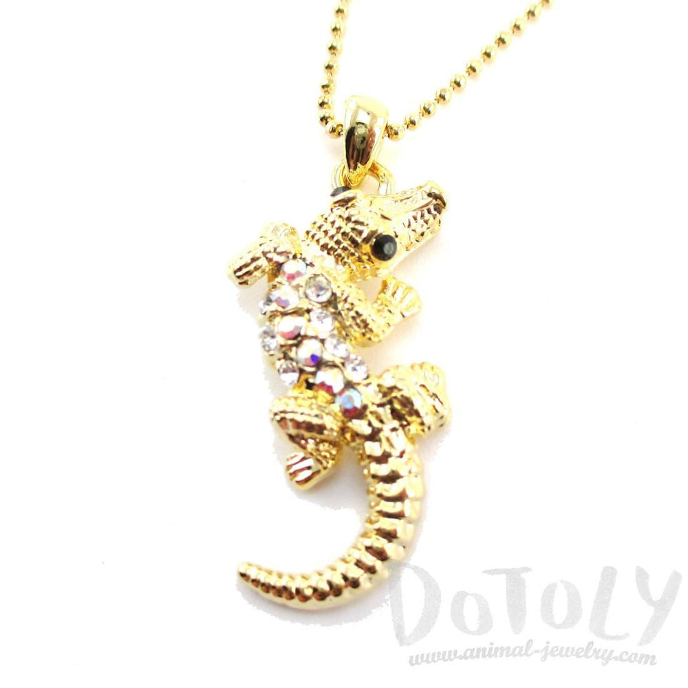 Rhinestone Crocodile Shaped Alligator Pendant Necklace in Gold | DOTOLY | DOTOLY