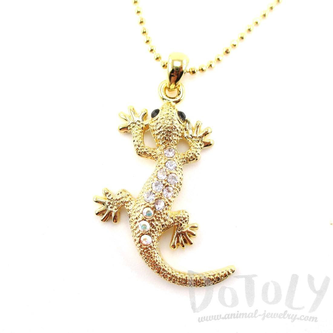Rhinestone Gecko Lizard Shaped Pendant Necklace in Gold