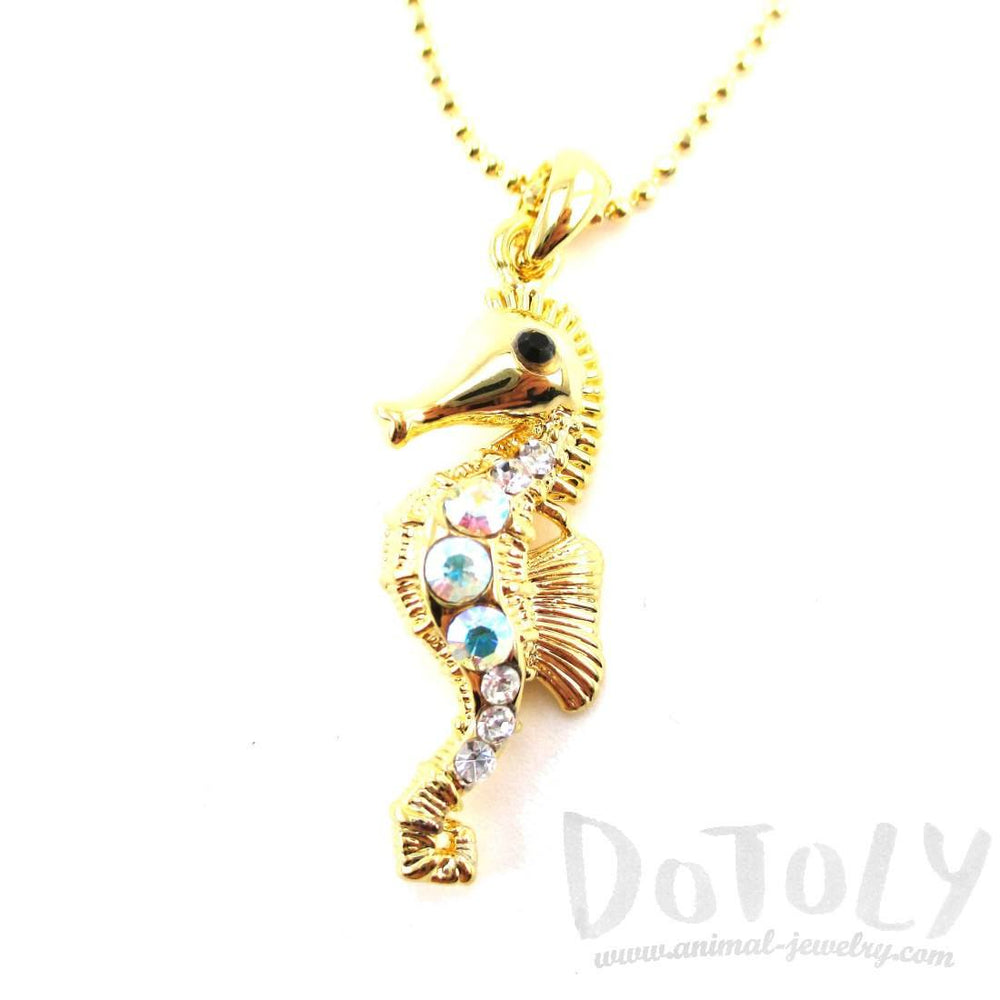 3D Rhinestone Seahorse Shaped Charm Necklace in Gold