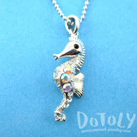 Rhinestone Seahorse Shaped Charm Necklace in Silver