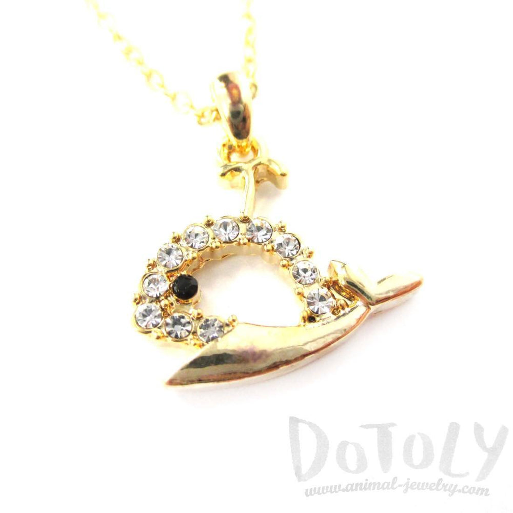 Rhinestone Whale Cut Out Shaped Pendant Necklace in Gold | DOTOLY | DOTOLY