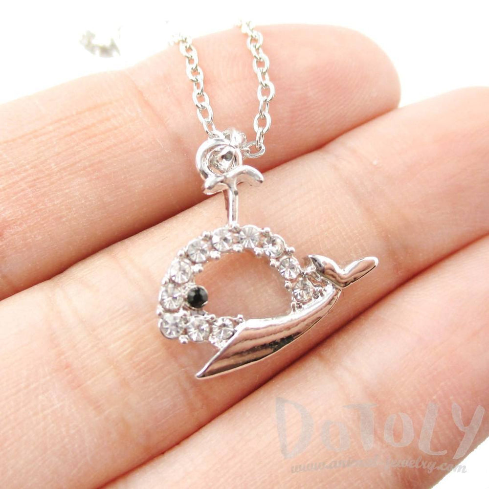 Rhinestone Whale Cut Out Pendant Necklace in Silver