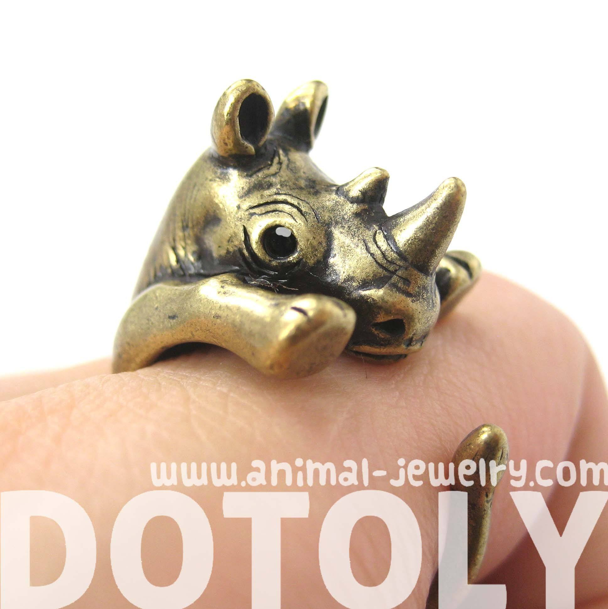 rhino-rhinoceros-animal-wrap-around-ring-in-brass-size-5-to-10