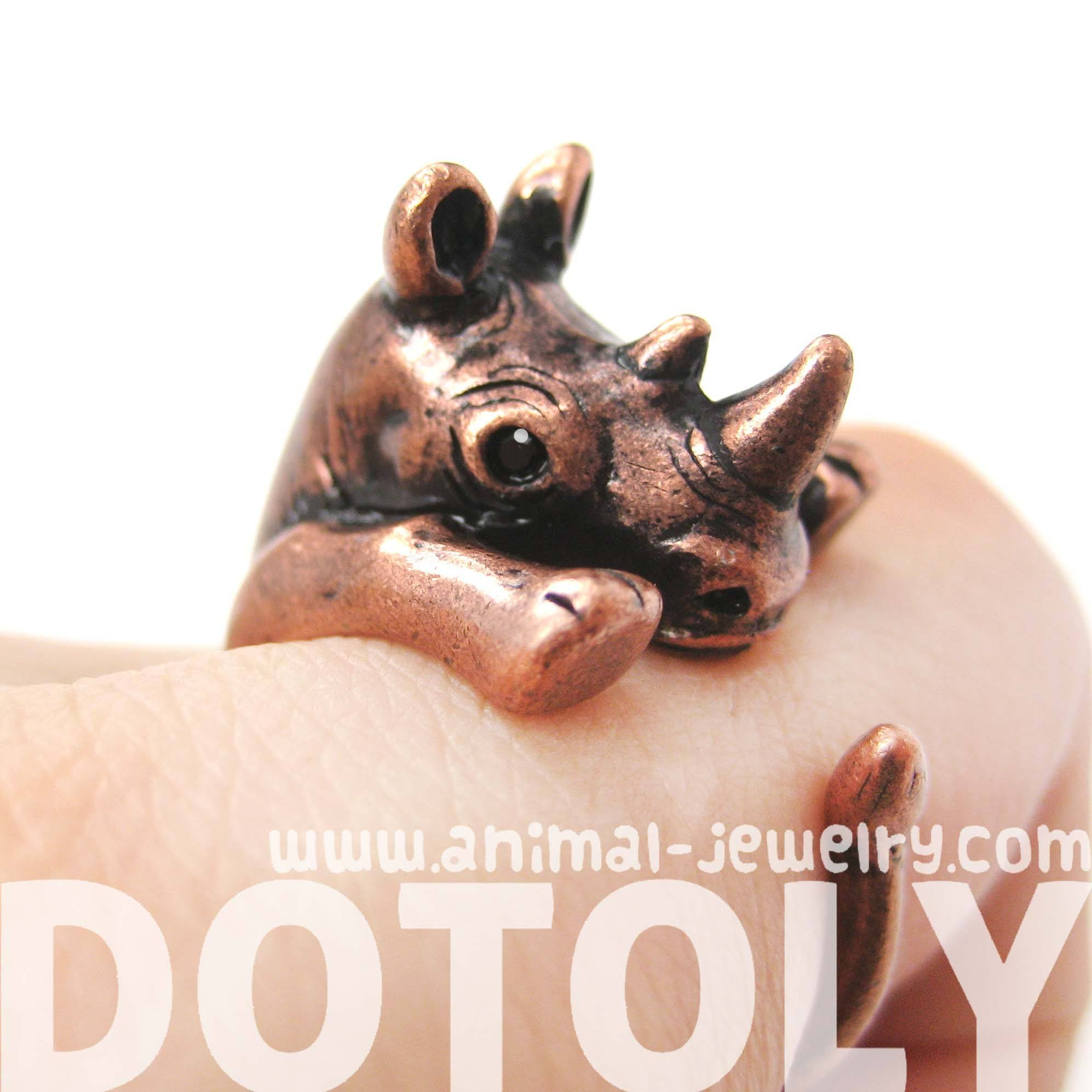 rhino-rhinoceros-animal-wrap-around-ring-in-copper-size-5-to-10