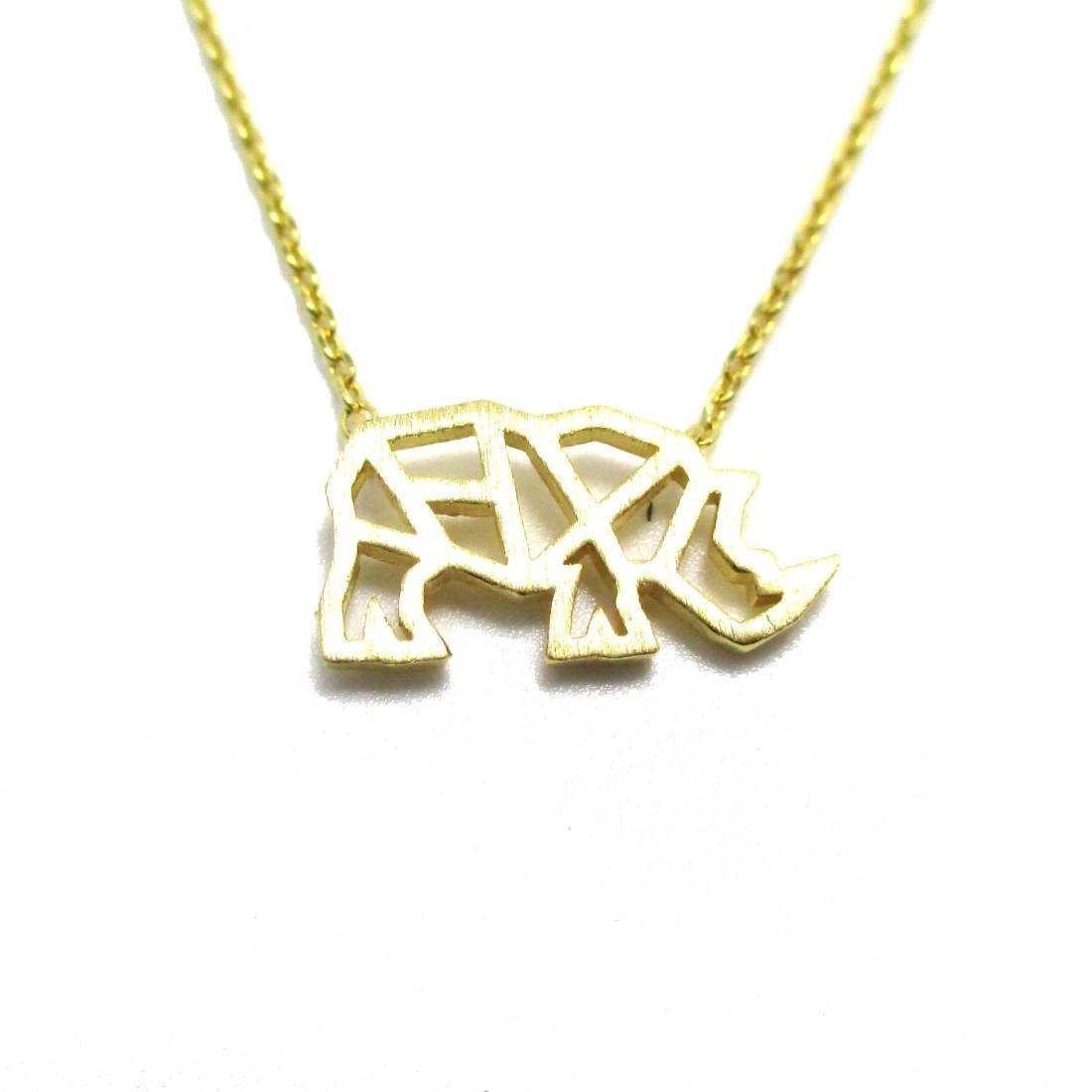 Rhino Rhinoceros Outline Shape Pendant Necklace in Gold