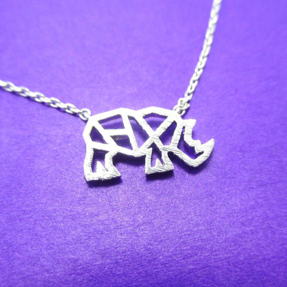 Rhino Rhinoceros Outline Shape Pendant Necklace in Silver