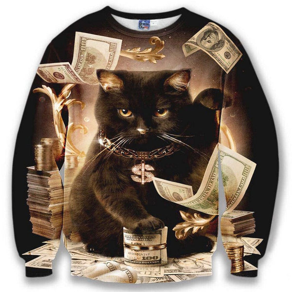 Black Fortune Kitty Cat on Piles of Cash Print Sweater