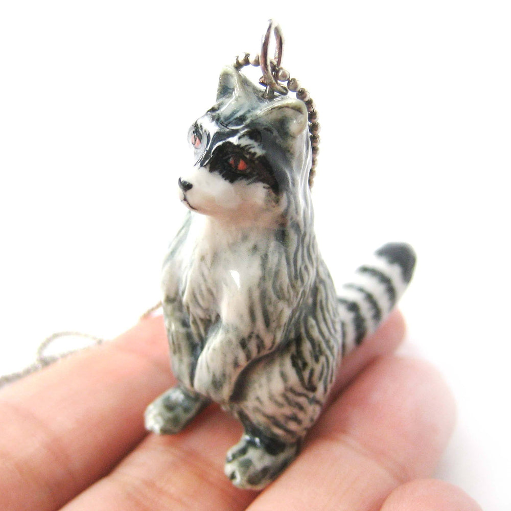 Ring-Tailed Lemur Porcelain Ceramic Animal Pendant Necklace | Handmade | DOTOLY