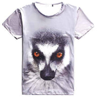 Ring Tailed Lemur Face Print Graphic Tee T-Shirts