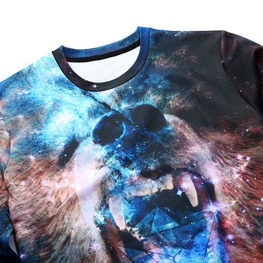 Bear Animal Face on Starry Universe Space Print Sweater