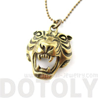 Roaring Tiger Face Shaped Animal Inspired Pendant Necklace in Brass