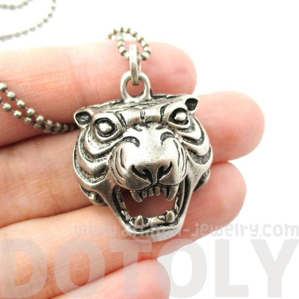 Roaring Tiger Face Shaped Animal Inspired Pendant Necklace in Silver | DOTOLY | DOTOLY