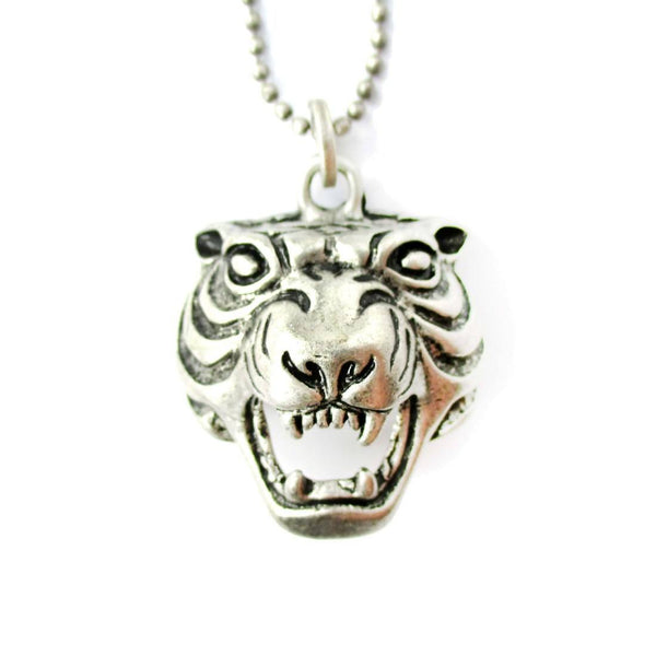 Roaring Tiger Face Shaped Animal Inspired Pendant Necklace in Silver