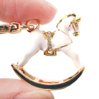 Rocking Horse Shaped Pendant Necklace in White and Gold | DOTOLY