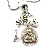 Skeleton Key Heart Shaped Lock and Angel Coin Shaped Charm Necklace