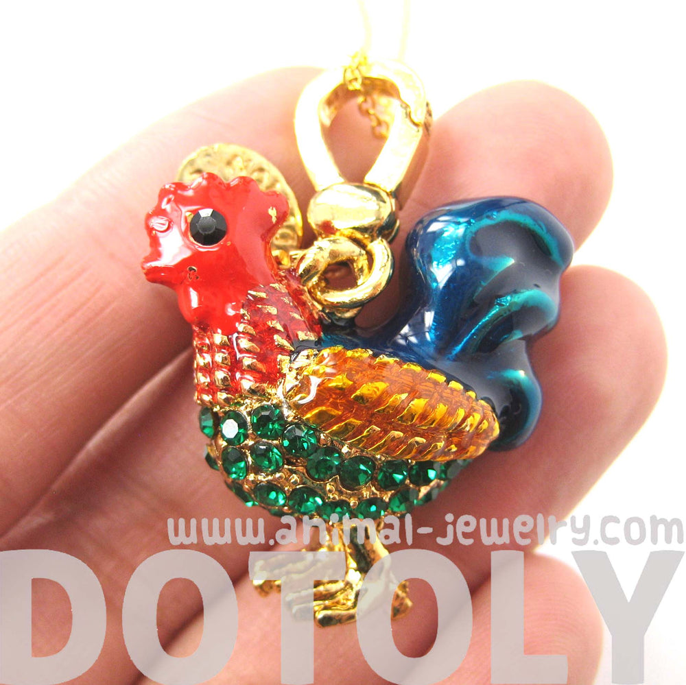 Rooster Hen Chicken Animal Pendant Necklace | Limited Edition Animal Jewelry | DOTOLY