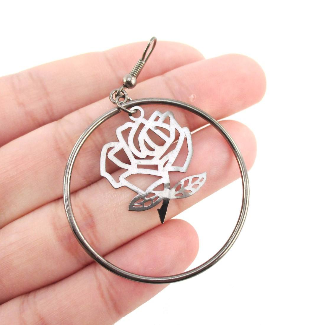 Rose Floral Filigree Cut Out Hoop Drop Earrings in Silver | DOTOLY