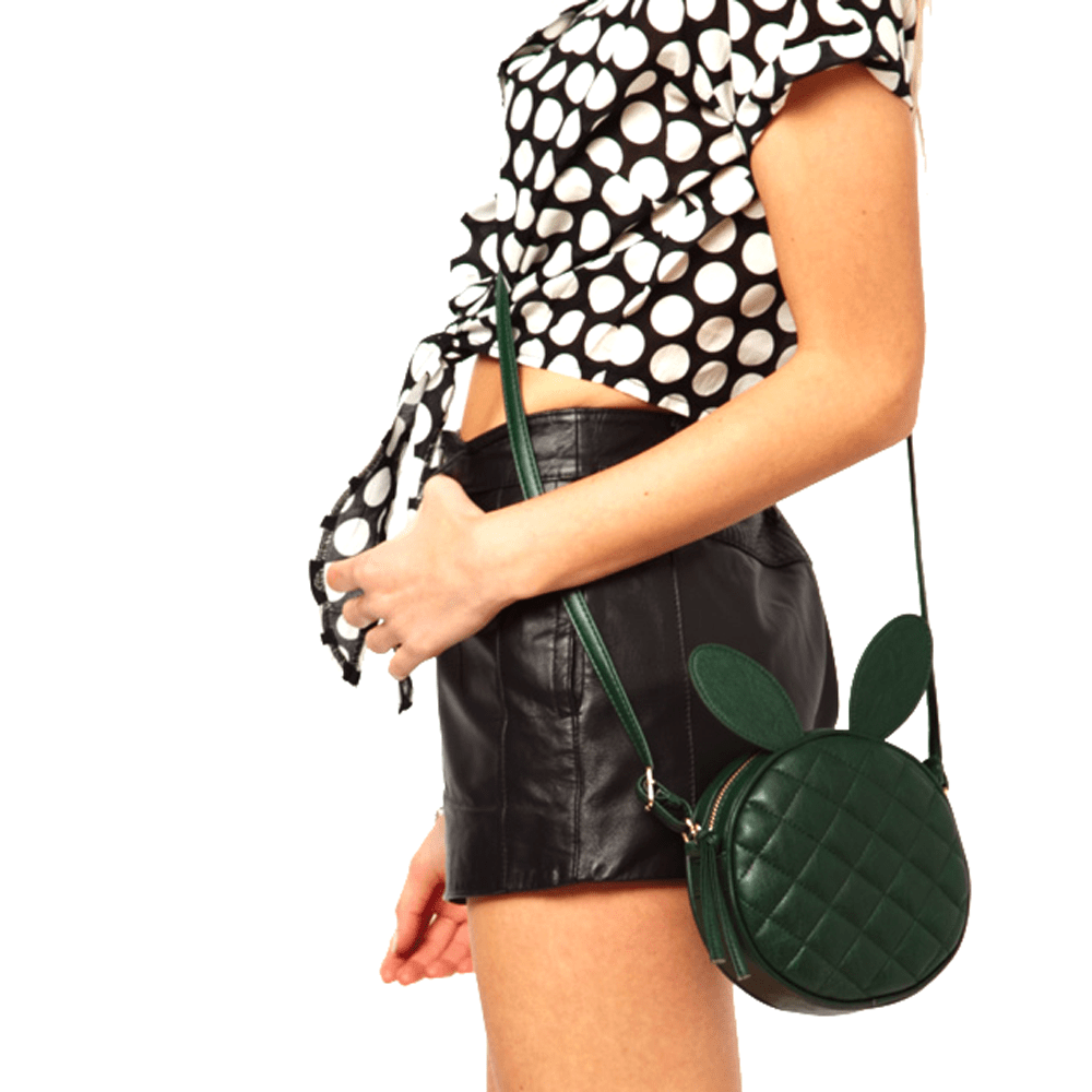 Round Bunny Rabbit Ears Shaped Quilted XBody Shoulder Bag Dark Green