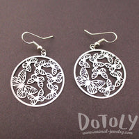 Round Butterfly Pattern Filigree Cut Out Dangle Earrings in Silver