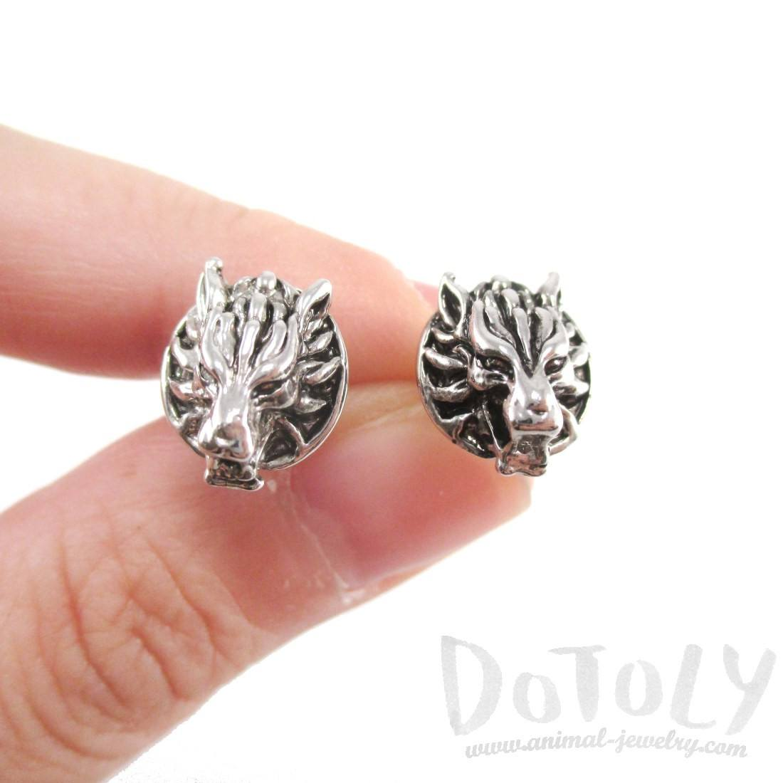 Round Dragon Face Animal Themed Stud Earrings in Silver