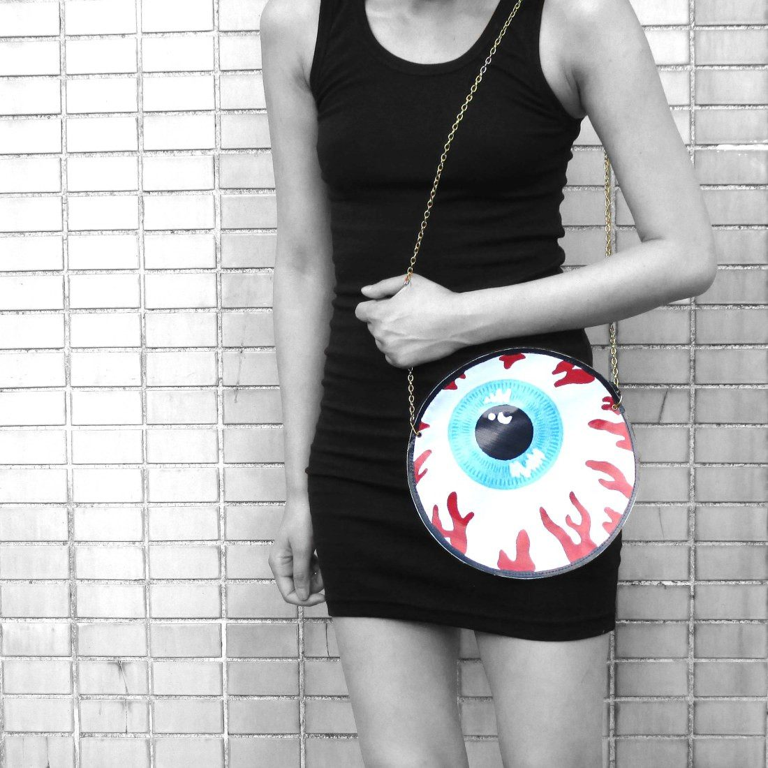 Quirky Human Eyeball Shaped Creepy Vinyl Cross Body Shoulder Bag