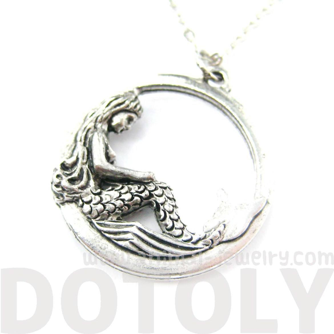 Detailed Mermaid Round Hoop Pendant Necklace in Silver | MADE IN USA
