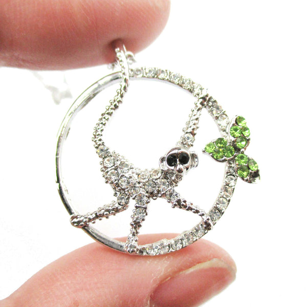 Round Monkey Shaped Animal Pendant Necklace in Silver with Rhinestones | DOTOLY