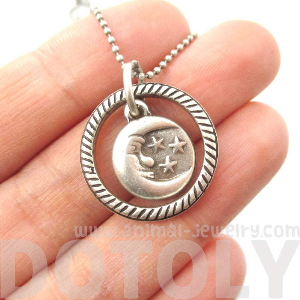 Round Moon and Stars Shaped Pendant Necklace in Silver