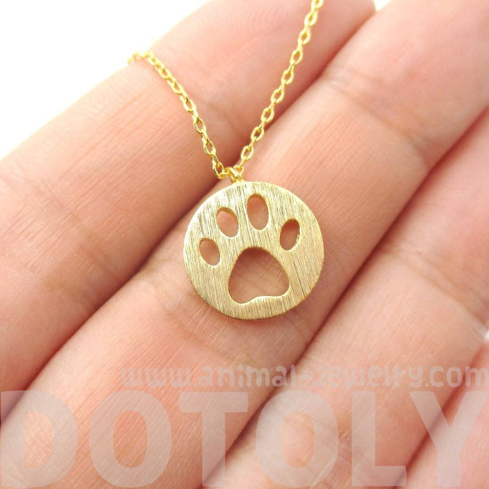 Round Puppy Paw Print Cut Out Shaped Pendant Necklace in Gold | DOTOLY