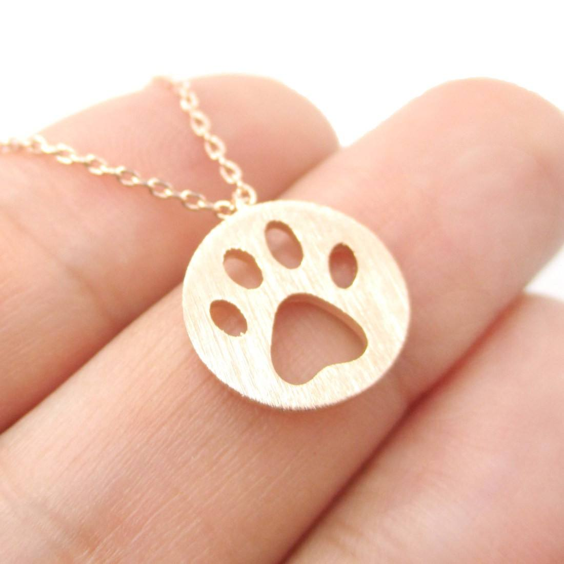 Round Puppy Paw Print Cut Out Shaped Pendant Necklace in Rose Gold