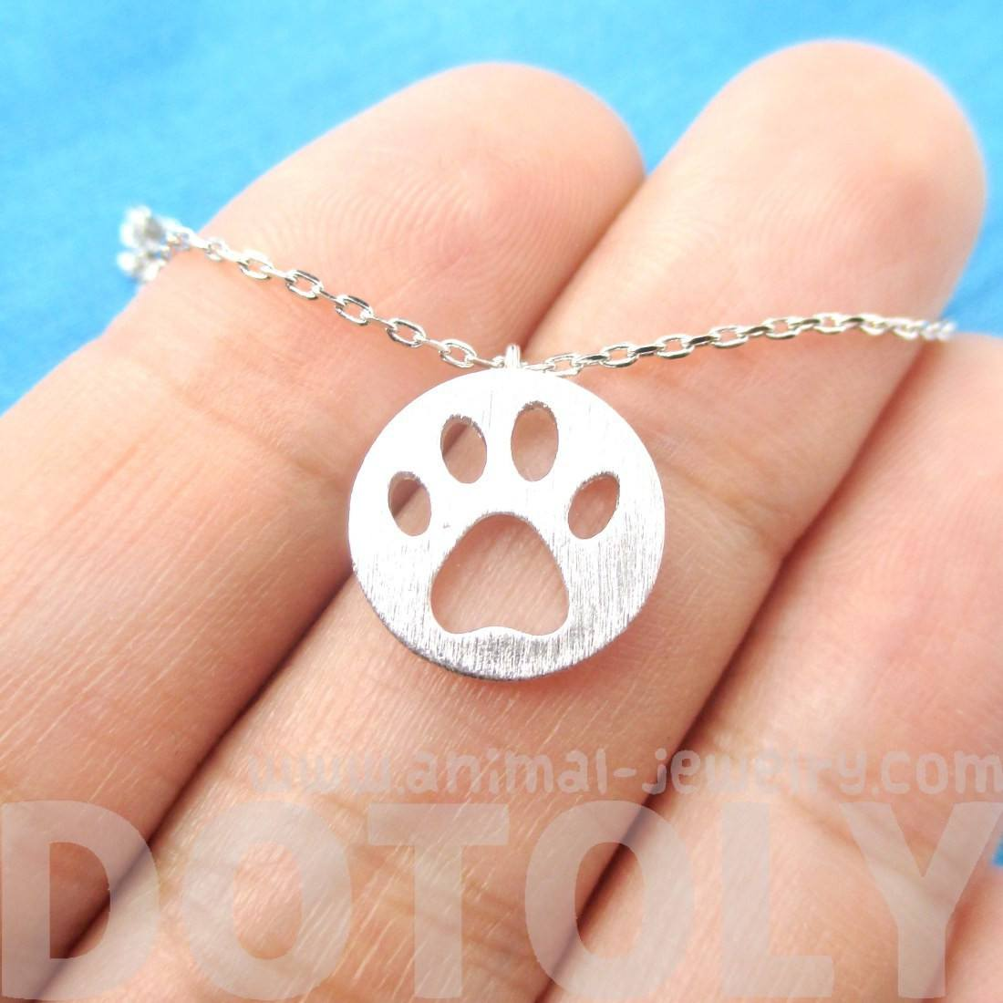 Round Puppy Paw Print Cut Out Shaped Pendant Necklace in Silver