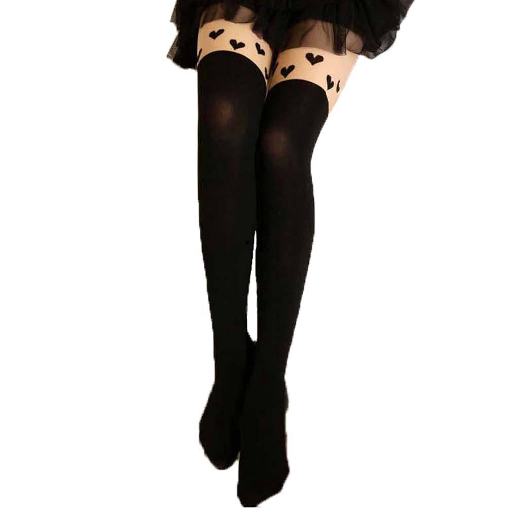 Row of Hearts Faux Thigh High Garter Sheer Stocking Tights for Women | DOTOLY