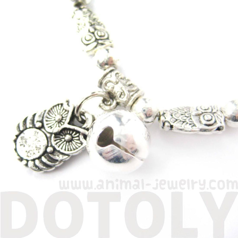 Row of Owl Bird Shaped Stretchy Charm Bracelet in Silver | DOTOLY
