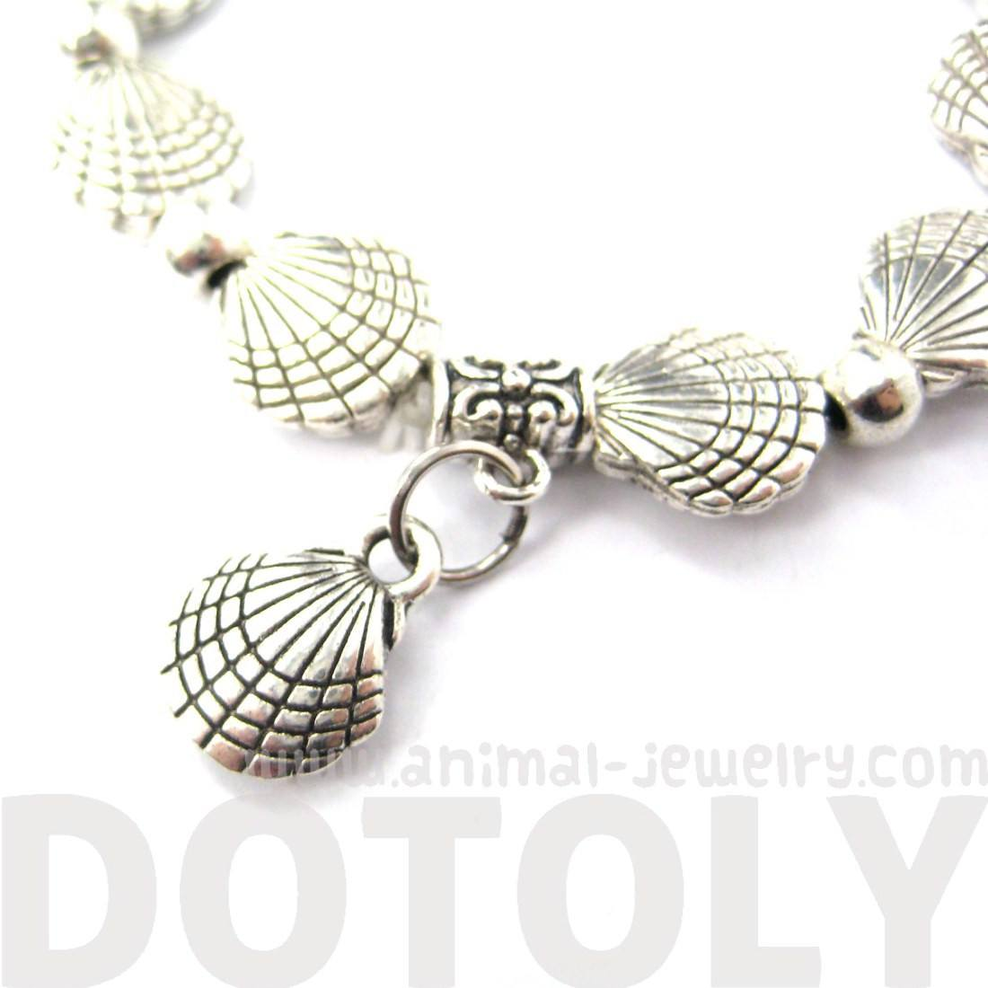 Row of Seashell Shells Shaped Stretchy Bracelet in Silver | DOTOLY