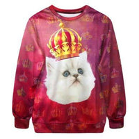 Royal Kitty Cat All Over Graphic Print Sweatshirt for Cat Lovers