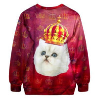 Royal Kitty Cat All Over Graphic Print Sweatshirt Sweater | Gifts for Cat Lovers | DOTOLY