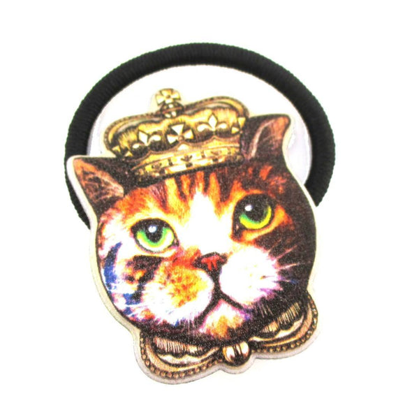 Royal Kitty Cat Wearing A Crown Shaped Glittery Hair Tie | DOTOLY